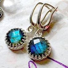 Náušnice - Faceted Labradorite Earrings AG 925 / Strieborné náušnice s modrým brúseným labradoritom /0044 - 9883034_