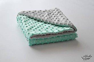 Textil - Minky deka grey/mint 70*100cm - 9880957_