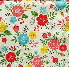 Papier - S1254 - Servítky - folk, kvietky, kvetinky, veselé, rozkošné, letné - 9881206_