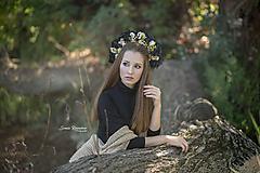 Ozdoby do vlasov - Čierna kvetinová parta - 9882374_