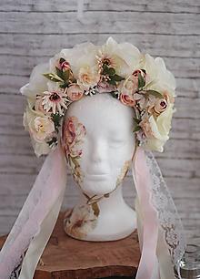 Ozdoby do vlasov - Svadobná kvetinová parta krémovo-ružová - 9882778_