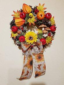 Dekorácie - jesenný šiškový veniec na dvere - 9883160_