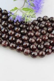 Minerály - granát korálky 11mm - fazetované - 9882892_