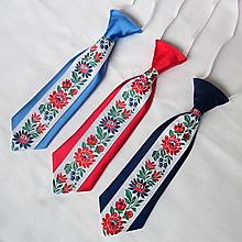 Detské doplnky - detská kravata FOLK  (Tmavomodrá) - 9881234_