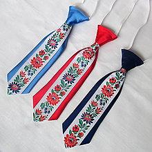 Detské doplnky - detská kravata FOLK  (Svetlomodrá) - 9881247_