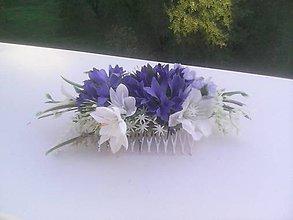 """Ozdoby do vlasov - Svadobný kvetinový hrebienok """"...v nevädzovom poli..."""" - 9882616_"""
