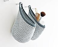 Košíky - Pletený košík s uškom - farby oceánu