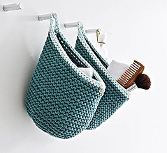 """Košíky - Pletený košík s uškom - farby oceánu """"C"""" - 9882454_"""