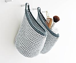 """Košíky - Pletený košík s uškom - farby oceánu """"A"""" - 9882491_"""