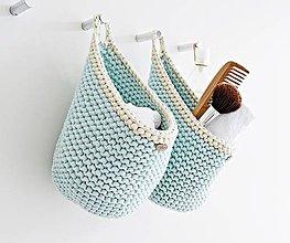 """Košíky - Pletený košík s uškom - farby oceánu """"D"""" - 9882508_"""