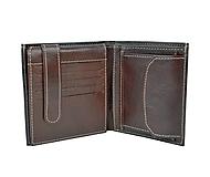 Kožená peňaženka s bohatou výbavou v tmavo hnedej farbe