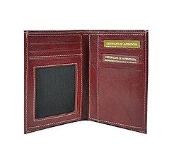 Tašky - Unisex kožená dokladovka, bordová farba - 9882852_