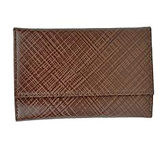 Peňaženky - Kožená peňaženka s mriežkovaným dekorom v hnedej farbe - 9882889_