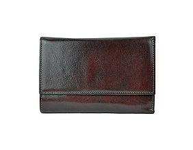 Peňaženky - Elegantná peňaženka z pravej kože v tmavo hnedej farbe - 9882898_