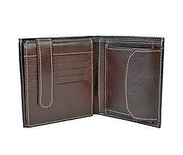 Tašky - Kožená peňaženka s bohatou výbavou v tmavo hnedej farbe - 9882906_