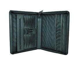 Tašky - Elegantná kožená spisovka v čiernej farbe - 9882945_