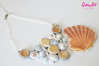 Náhrdelníky - Soutache náhrdelník - Morskej panny - 9882965_