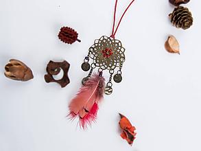 Náhrdelníky - Náhrdelník dlhý: Lapač bordový - 9880955_