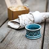Dekorácie - Kroužek na ubrousek modrý se vzorem - 9883377_