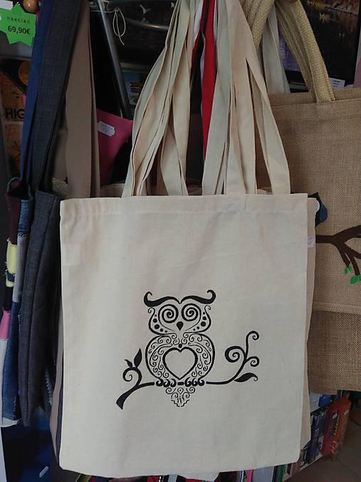3819124f8 Plátená nákupná taška so sovičkou / rifloviny - SAShE.sk - Handmade ...