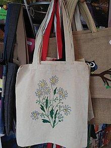 Nákupné tašky - Plátená nákupná taška s kvietkami - 9880934_