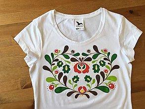 Tričká - Folkové dámske maľované tričko (Jesenné sfarbenie) - 9881048_