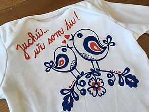 Detské oblečenie - Maľované body so srdiečkom naľudovo a nápisom