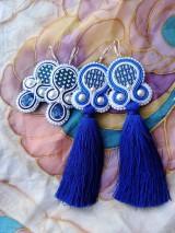 Náušnice - Folk modrotlačové náušnice - 9882811_