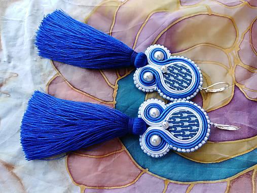 Náušnice - Folk modrotlačové náušnice (So strapčekom) - 9882810_
