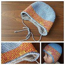 43adb9004 Detské čiapky - Detská merino čiapka cez ušká - svetlo modra / ruzova s  neon zltou