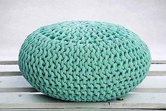 Úžitkový textil - Puf z hrubých šnúr (Mentolová) - 9884662_