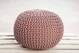 Úžitkový textil - Puf z hrubých šnúr (Staroružová) - 9884666_