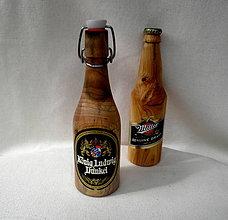 Dekorácie - drevená fľaška - orechová... - 9883492_
