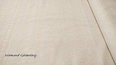 Textil - Látka pretkávaná lurexovou niťou - Vianočný mix v páse béžový - cena za 10 cm - 9884844_