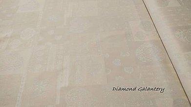 Textil - Látka pretkávaná lurexovou niťou - Vianočný patchwork srdiečka béžove - cena za 10 cm - 9885128_