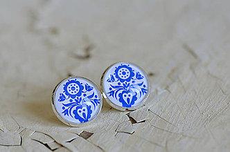 Šperky - NA SKLE MAĽOVANÉ manžetové gombíky (Modrá) - 9884916_