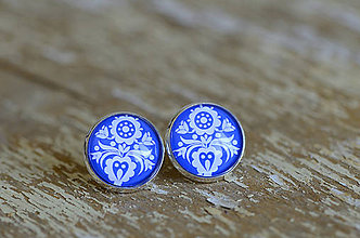 Šperky - NA SKLE MAĽOVANÉ manžetové gombíky (Biela) - 9884917_