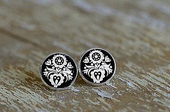 Šperky - NA SKLE MAĽOVANÉ manžetové gombíky (Biela) - 9884931_