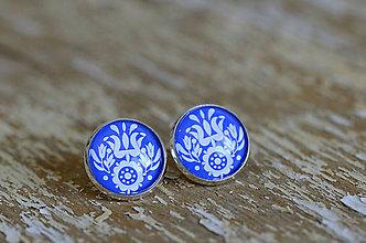 Šperky - NA SKLE MAĽOVANÉ manžetové gombíky (Biela) - 9884939_