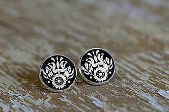Šperky - NA SKLE MAĽOVANÉ manžetové gombíky (Biela) - 9884943_