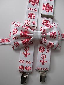 Doplnky - Pánsky motýlik a traky- čičmany set  v bieločervenom - 9885089_