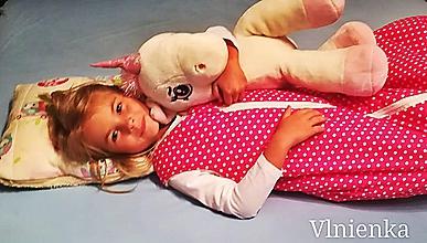Textil - Spací vak pre deti a bábätká ZIMNÝ 100% MERINO na mieru Bodka ružová - 9884272_