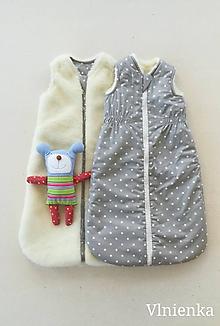Textil - Spací vak pre deti a bábätká ZIMNÝ 100% MERINO na mieru Hviezdička šedá - 9884291_