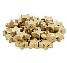 Korálky - KD150 Korálka drevená HVIEZDIČKA 1,5 cm (Zlatá) - 9884739_