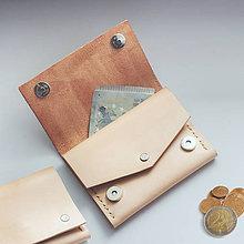 Peňaženky - Kožená peňaženka malá - aj na mince  - 9884597_
