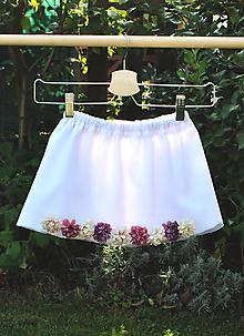 Detské oblečenie - Biela sukňa s kvetmi leta - 9884753_