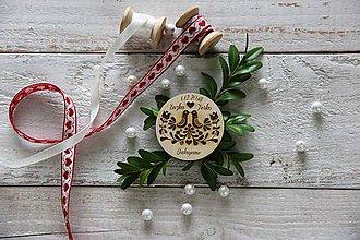 Darčeky pre svadobčanov - Drevená magnetka FOLK - 9884836_