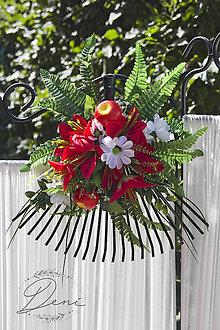 Dekorácie - Hrablička s kvetmi a jabĺčkami - 9884124_