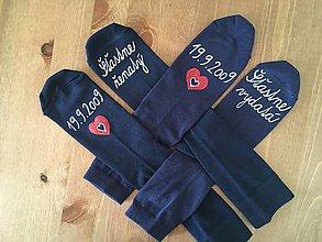 Obuv - Maľované ponožky pre novomanželov / k výročiu svadby (tmavomodré) - 9885419_