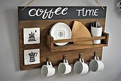 - Vešiak s policou pre vášnivých kávičkárov - 9883550_